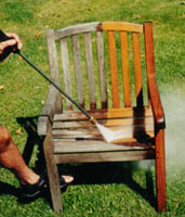 Photo: Power washing teak chair