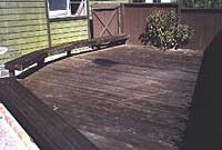Photo: Wood deck restoring project before