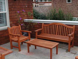 Photo: Teak patio furniture set refinished
